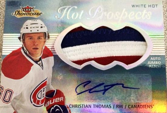 2013-14-NHL-Fleer-Showcase-Hot-Prospects-Jumbo-White-Hot-Patch-Christian-Thomas