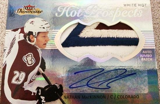 2013-14-NHL-Fleer-Showcase-Hot-Prospects-Jumbo-White-Hot-Patch-Nathan-MacKinnon