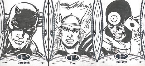 2014-Marvel-Premier-Upper-Deck-Sketch-Card-Neal-Adams-Daredevil-Thor-Bullseye