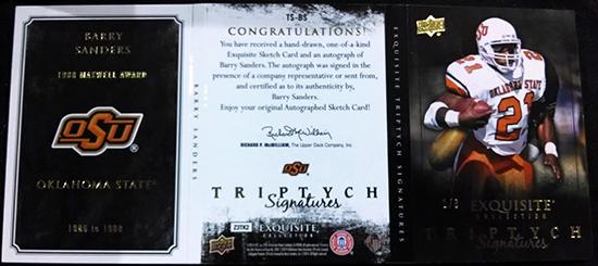 2013-Upper-Deck-Exquisite-Football-Autograph-Triptych-Signatures-Barry-Sanders