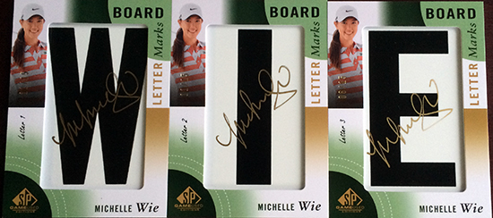 Michelle-Wie-2014-SP-Game-Used-Golf-Leaderboard-Letter-Marks-Full-Set-Nameplate