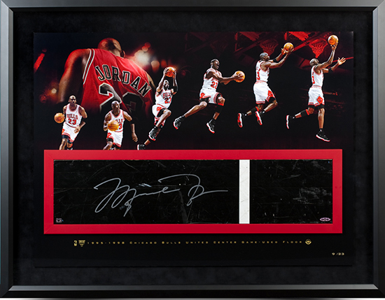 Upper-Deck-Authenticated-UDA-Present-Michael-Jordan-Game-Used-Floor-Piece-Framed-Signed