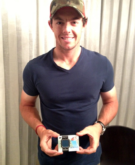 Rory-McIlroy-Signing-Session-Upper-Deck-Holding-Exquisite-Golf-Rookie-Card-2014-Autograph