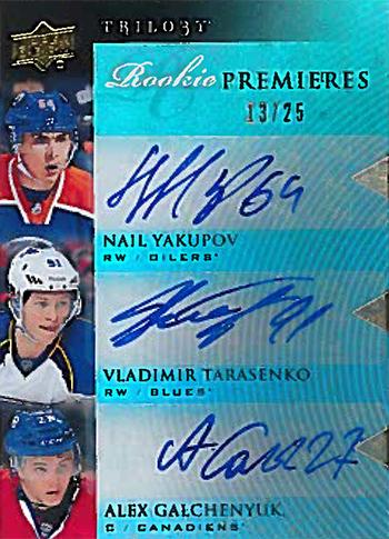 13-14-Upper-DeckVladimir-Tarasenko-Trilogy-Premiers-Autograph-Rookie-Triple-25-Yakupov-Galchenyuk