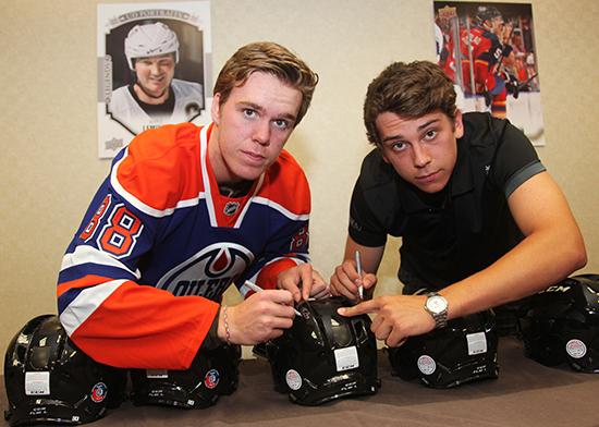 Connor-McDavid-Ryan-Strome-Sign-Promotional-Helmet-Dual-Autograph