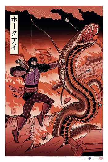 the-avengers-ud-gallery-japanese-woodblock-hawkeye-panel-variant