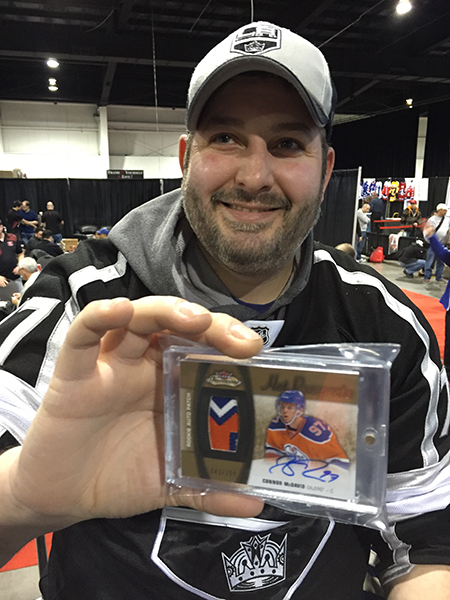 2015-16-NHL-Upper-Deck-Fleer-Showcase-Connor-McDavid-Rookie-Autograph-Patch-Card-Expo-Collector-Happy