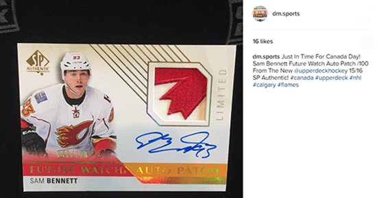 2015-16-NHL-SP-Authentic-Sam-Bennett-Canada-Day-autograph-rookie-patch-dm-sports