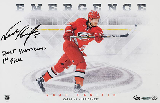 noah-hanifan-autographed-inscribed-emergence-photo-upper-deck-authenticated-nhl-draft