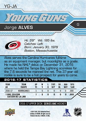 2016-17-NHL-Upper-Deck-Young-Guns-Jorge-Alves-Rookie-Card