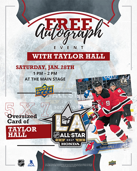 2017-Upper-Deck-NHL-All-Star-Los-Angeles-Autograph-Signing-Fan-Fair-New-Jersey-Devils-Taylor-Hall