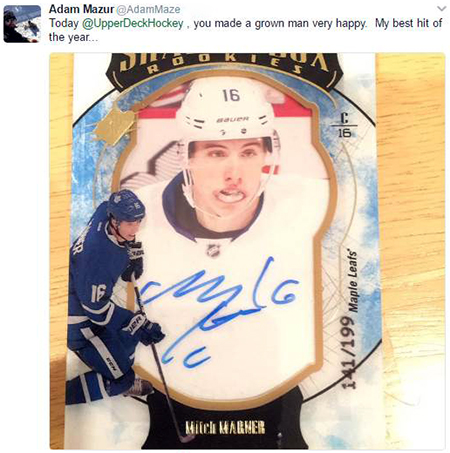 2016-17-NHL-SPx-Mitch-Marner-Autograph-Shadobox-Grown-Man-Happy