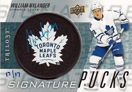 2016-17-NHL-Upper-Deck-Rookie-William-Nylander-Toronto-Trilogy-Autograph-Maple-Leaf-Puck