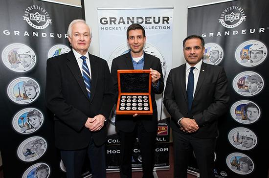 2017-Upper-Deck-Grandeur-Launch-Hockey-Hall-of-Fame-NHLPA-Don-Fehr-Jason-Masherah-Hockey-Coins
