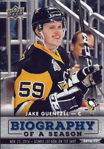 2016-17-Upper-Deck-Young-Guns-NHL-Biography-of-a-season-Rookie-Jake-Guentzel