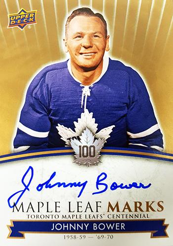2017-Upper-Deck-Toronto-Maple-Leafs-Centennial-Set-Autograph-Marks-Johnny-Bower