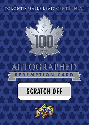 2017-Upper-Deck-Toronto-Maple-Leafs-Centennial-Set-Autograph-Redemption-Card-Retail