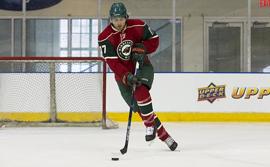 Upper-Deck-2016-NHLPA-Rookie-Showcase-Alex-Tuch-Las-Vegas-Golden-Knights-Minnesota-Wild-Ice-Footwork