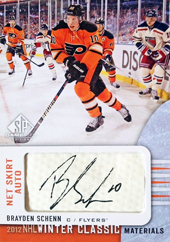 2013-14-NHL-SP-Game-Used-Winter-Classic-Net-Skirt-Autograph-Brayden-Schenn