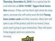 Here is Your Excuse to Get Out of Work to Open Boxes of 2018-19 NHL® Upper Deck Series One!