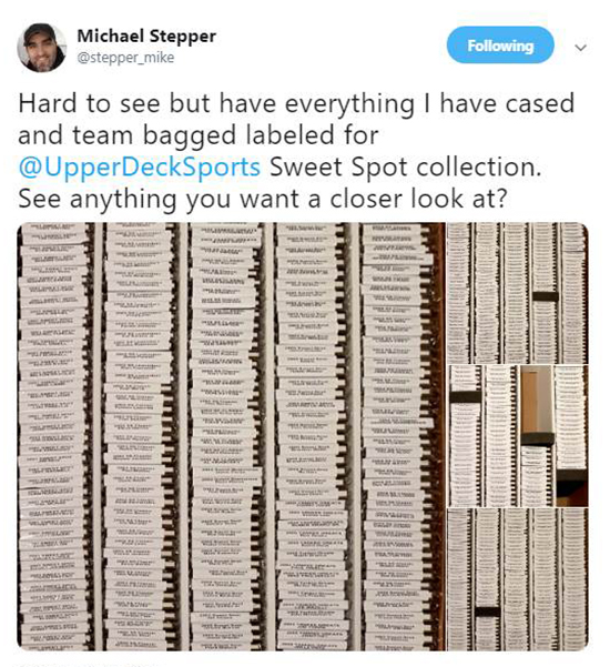 michael stepper organized baseball cards labeled category