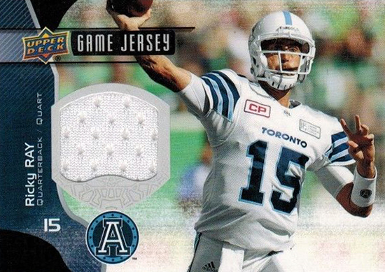 ricky ray frito upper deck cfl jersey card