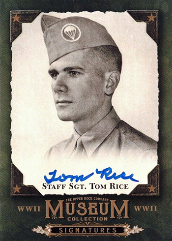 tom rice d-day memorial day normandy upper deck autograph