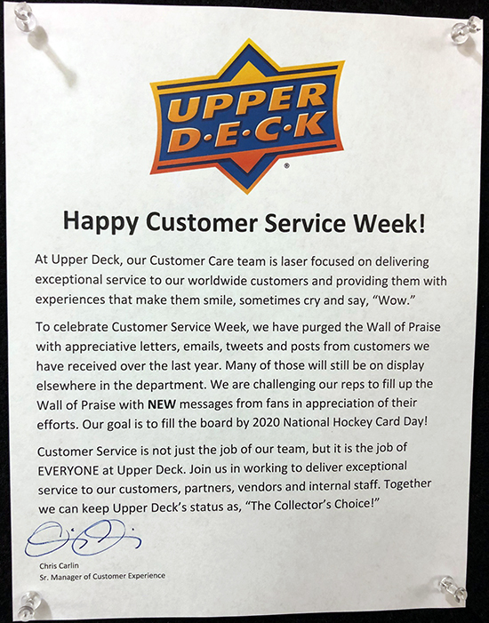 upper deck wall of praise customer service care experience week thank you notes cards