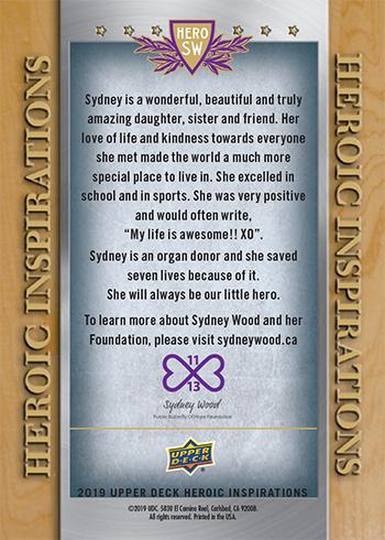 upper deck heroic inspirations card sydney wood