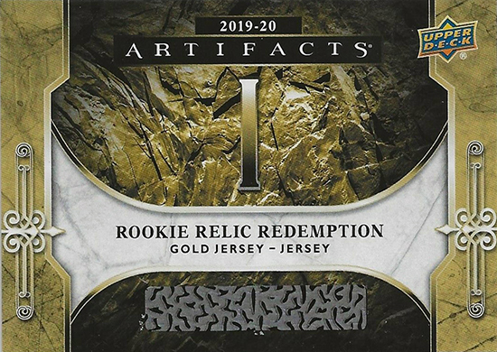 upper deck nhl artifacts rookie redemption