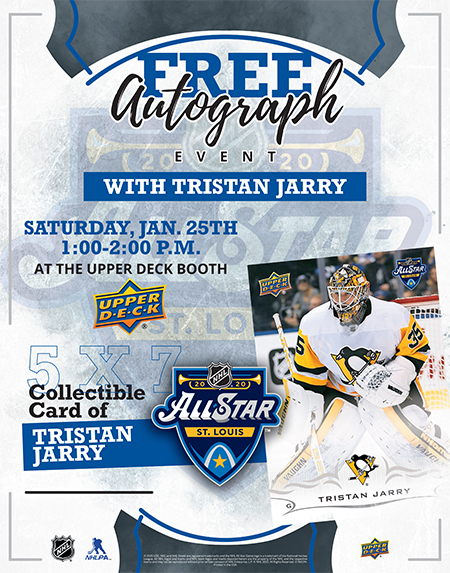 upper deck autograph signing nhl all-star tristan jarry