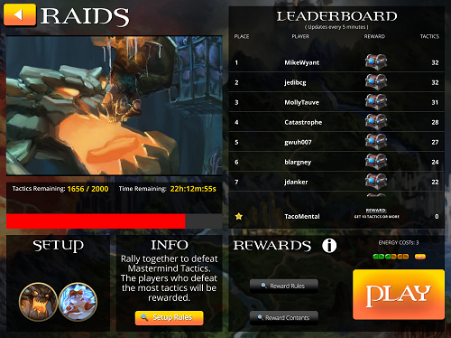 Legendary DXP Raid Screen
