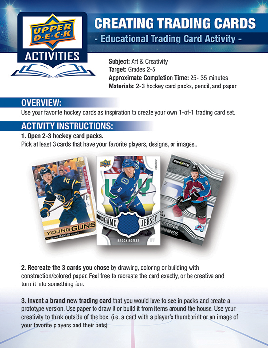 upper deck lesson plan teach home elementary kids learn activity art hockey cards