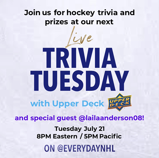 upper deck trivia tuesday laila anderson everyday nhl instagram live show